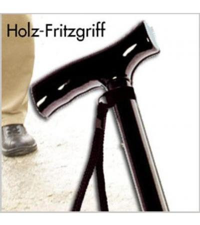 Aluminium Gehstock mit Holz-Fritzgriff - silber